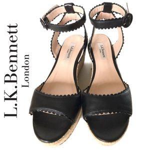 Lk Bennett Seve Leather Wedge Heel Sandals Size:38